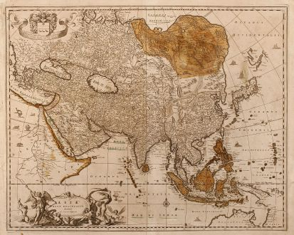 Antique Maps, Visscher, Asian Continent, 1680: Asiae Nova Delineatio Auctore N. Visscher.