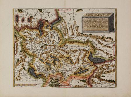 Antike Landkarten, Ortelius, Schweiz, 1574: Helvetiae Descriptio Aegidio Tschudo Auct.