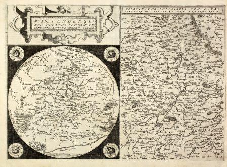 Antike Landkarten, de Jode, Deutschland, Württemberg, Bayern, 1578: Wirtenbergensis Ducatus Elegans Delineatio / Palatinatus Superioris