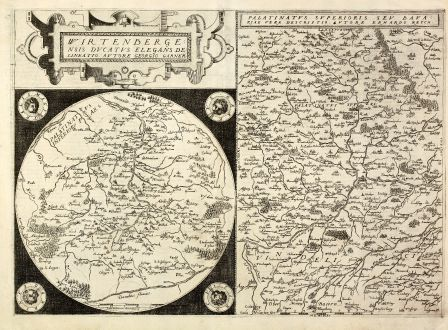 Antique Maps, de Jode, Germany, Wurttemberg, Bavaria, 1578: Wirtenbergensis Ducatus Elegans Delineatio / Palatinatus Superioris