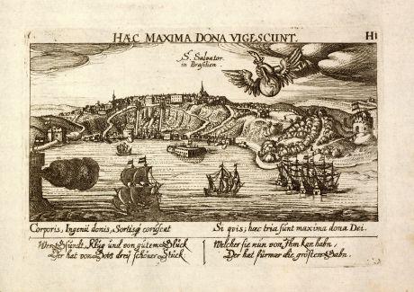 Antike Landkarten, Meissner, Südamerika, Brasilien, Salvador da Bahia, 1638: S. Salvator in Brasilien