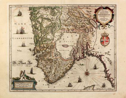 Antique Maps, Janssonius, Scandinavia, Norway, Oslo, Stavanger, Bergen: Nova et accurata Tabula Episcopatuum Stavangriensis, Bergensis et Asloiensis Vicinarumque aliquot territoriorum