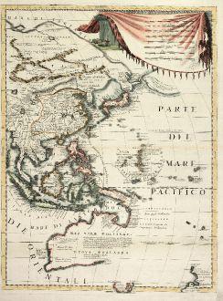 Antike Landkarten, Coronelli, Pazifik, Südost Asien, Japan, Australien, 1697: [Asia]