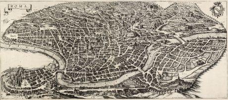 Antike Landkarten, Merian, Italien, Rom, 1641: Roma