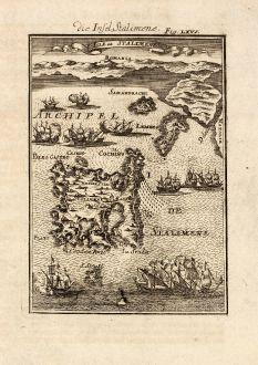 Antike Landkarten, Mallet, Griechenland, Limnos, 1686: Die Insel Stalimene