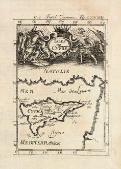 Antique Maps, Mallet, Greece, Cyprus, 1686: Die Insel Cypern / Isles de Cypre