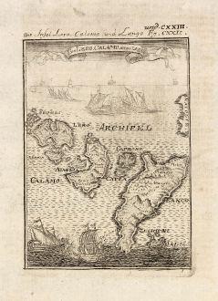 Antike Landkarten, Mallet, Griechenland, Leros, Kalymnos, Iraklides, 1686: Die Insel Lero, Calamo und Lango / Isles de Lero, Calamo, et de Lanco.