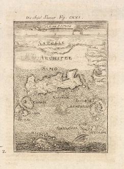 Antike Landkarten, Mallet, Griechenland, Samos, 1686 [1719]: Die Insel Samos / Isle de Samos