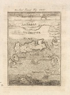 Antike Landkarten, Mallet, Griechenland, Samos, 1686: Die Insel Samos / Isle de Samos