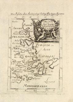 Antike Landkarten, Mallet, Griechenland, Ägäis, 1686: Die Inseln des Archipelagi so bey Asia liegen / Les Isles de l'Archipel qui sont vers l'Asie