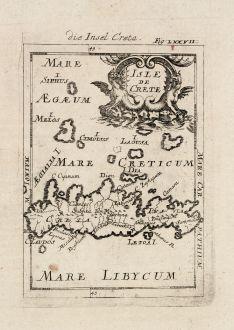 Antike Landkarten, Mallet, Griechenland, Kreta, 1686: Die Insel Creta / Isle de Crete