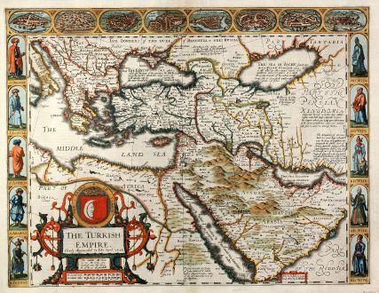 Antike Landkarten, Speed, Türkei, Türkische Reich, 1627: The Turkish Empire. Newly Augmented by Iohn Speed. 1626