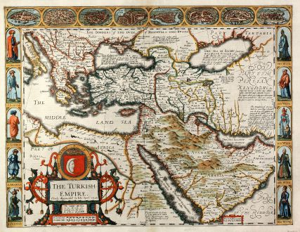 Antique Maps, Speed, Turkey, Turkish, Ottoman Empire, 1627: The Turkish Empire. Newly Augmented by Iohn Speed. 1626