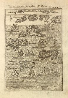 Antique Maps, Mallet, Greece, Cyclades, Thira, Ios, Sikinos, 1686: Die Inseln Nio, Namphio, St. Erini etc.