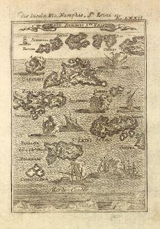 Antike Landkarten, Mallet, Griechenland, Kykladen, Thira, Ios, Sikinos, 1686: Die Inseln Nio, Namphio, St. Erini etc.