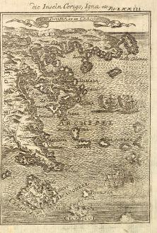 Antique Maps, Mallet, Greece, Peloponnese, Kythira, Hydra, Piraeus, 1686: Die Inseln Cerigo, Igna / I.D. Igna et de Cerigo