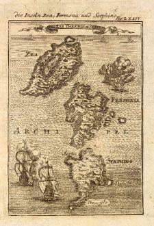 Antike Landkarten, Mallet, Griechenland, Kykladen, Kea, Kythnos, Serifos, 1686: Die Inseln Zea, Fermena und Serphino / I. de Zea, Thermia en Serifo
