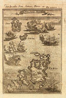 Antike Landkarten, Mallet, Griechenland, Kykladen, Paros, Syros, Antiparos, 1686: Die Inseln Sira, Sirna, Paros / I. de Sira Sirna Paros