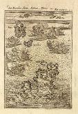 Antike Landkarte von Antiparos, Syros, Paros, Kykladen. Gedruckt in Frankfurt um 1686.