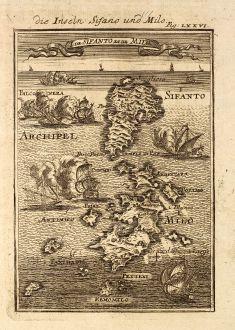 Antique Maps, Mallet, Greece, Cyclades, Milos, Sifnos, 1686: Die Inseln Sifano und Milo / I. de Sifanto et de Milo