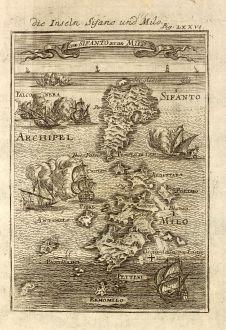 Antike Landkarten, Mallet, Griechenland, Kykladen, Milos, Sifnos, 1686: Die Inseln Sifano und Milo / I. de Sifanto et de Milo