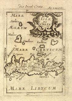 Antique Maps, Mallet, Greece, Crete / Kriti, 1686: Die Insel Creta / Isle de Crete