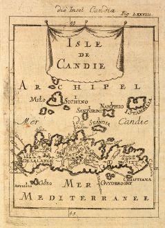 Antike Landkarten, Mallet, Griechenland, Kreta, 1686: Die Insel Candia / Isle de Candie