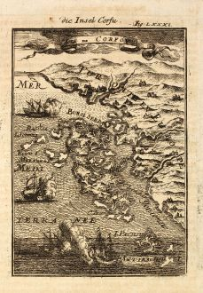 Antique Maps, Mallet, Greece, Ionian Islands, Corfu, 1686: Die Insel Corfu / Isle de Corfou