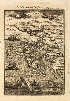 Antike Landkarten, Mallet, Griechenland, Ionischen Inseln, Korfu, 1686: Die Insel Corfu / Isle de Corfou