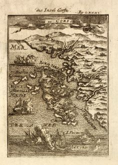 Antique Maps, Mallet, Greece, Corfu, Ionian Islands, 1686: Die Insel Corfu / Isle de Corfou