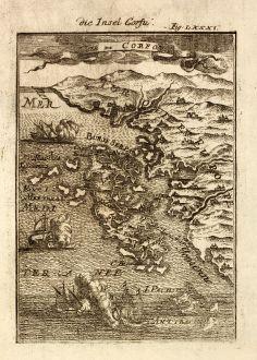Antike Landkarten, Mallet, Griechenland, Korfu, Ionischen Inseln, 1686: Die Insel Corfu / Isle de Corfou