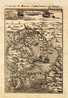 Antique Maps, Mallet, Greece, Ionian Islands, Kefalonia, Lefkada, Zakynthos: Die Inseln St. Maura, Cephalonien und Zante / I. de Ste Maure, Cefalonie, Zante