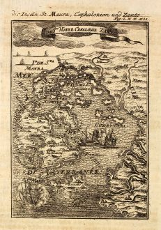 Antike Landkarten, Mallet, Griechenland, Ionischen Inseln, Kefalonia, Lefkada: Die Inseln St. Maura, Cephalonien und Zante / I. de Ste Maure, Cefalonie, Zante