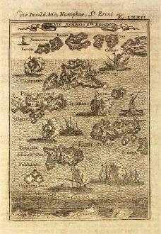 Antike Landkarten, Mallet, Griechenland, Kykladen, Thira, Ios, Sikinos, 1686: Die Inseln Nio, Namphio, St. Erini / Ile Nio Namphio Sta Erini
