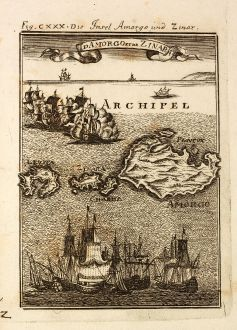 Antike Landkarten, Mallet, Griechenland, Kykladen, Amorgos, 1686: Die Insel Amorgo und Zinar / Id Amorgo et de Zinara