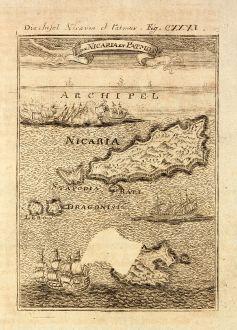 Antike Landkarten, Mallet, Griechenland, Kykladen, Ikaria, Patmos, 1686: Die Insel Nicaria et Patmos / Is de Nicaria et Patmos