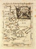 Antique map of the Aegean Sea. Printed in Frankfurt circa 1686.