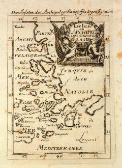 Antike Landkarten, Mallet, Griechenland, Ägäis, 1686: Die Inselen des Archipelagi so bey Asia liegen / Les Isles de l'Archipel qui sont vers l'Asie