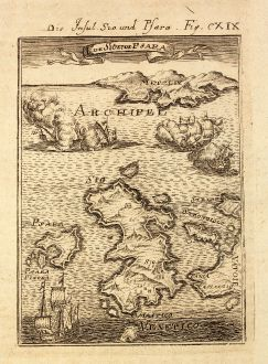 Antique Maps, Mallet, Greece, Aegean Sea, Chios, Psara, 1686: Die Insul Sio und Psara / I de Sio et de Psara