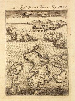 Antike Landkarten, Mallet, Griechenland, Ägäis, Chios, Psara, 1686: Die Insul Sio und Psara / I de Sio et de Psara