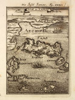 Antique Maps, Mallet, Greece, Aegean Sea, Samos, 1686: Die Insel Samos / Isle de Samos