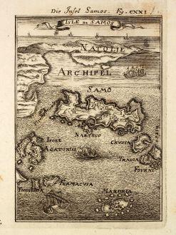 Antike Landkarten, Mallet, Griechenland, Ägäis, Samos, 1686: Die Insel Samos / Isle de Samos