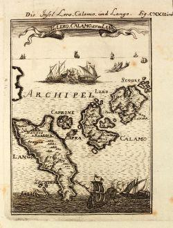 Antique Maps, Mallet, Greece, Aegean Sea, Leros, Kalymnos, Iraklides, 1686: Die Insel Lero, Calamo und Lango / Is de Lero, Calamo, et de Lanco.