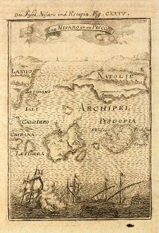 Antike Landkarten, Mallet, Griechenland, Ägäis, Tilos, Nisyros, 1686: Die Insel Nisaro und Piscopia / Is. de Nisaro et de Piscopia