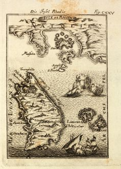 Antique Maps, Mallet, Greece, Aegean Sea, Rhodes, 1686: Die Insel Rhodis / Isle de Rhodes