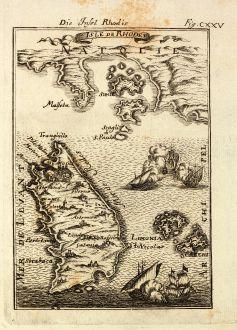 Antike Landkarten, Mallet, Griechenland, Ägäis, Rhodos, 1686: Die Insel Rhodis / Isle de Rhodes