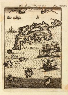 Antique Maps, Mallet, Greece, Aegean Sea, Astypalaia, 1686: Die Insel Stampalla / Isle de Stampalia