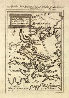 Antike Landkarten, Mallet, Griechenland, Ägäis, 1686: Die Inseln dess Archipelagus, welche in Europam gehören. / Les Isles de l'Archipel qui sont de l'Europe