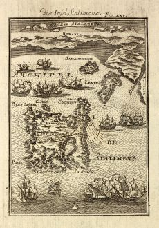 Antique Maps, Mallet, Greece, Lemnos, Limnos, 1686: Die Insel Stalimene / Isle de Stalimene