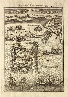 Antike Landkarten, Mallet, Griechenland, Nord-Ägäis, Limnos, 1686: Die Insel Stalimene / Isle de Stalimene